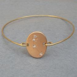 Aries -personalized Zodiac Constellation bangle bracelet - March April Birthday